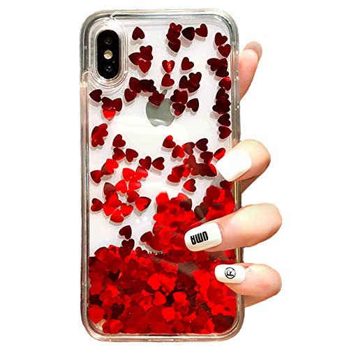 Black Lemon Liquid Case Compatible iPhone 7 Plus 8 Plus Quicksand Flowing Floating Bling Glitter Heart Soft Makeup Protective Case for Girls Women with Wrist Strap (Red, iPhone 7 Plus / 8 Plus)