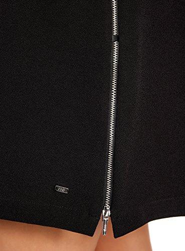 Nero Decorative 2900n oodji Cerniere Abito Laterali con Donna Ultra Dritto xxqfU7Z8w