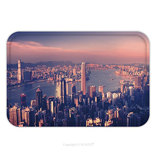 Flannel Microfiber Non-slip Rubber Backing Soft Absorbent Doormat Mat Rug Carpet City Scape Buildings Urban Scene Concept_45630296 for Indoor/Outdoor/Bathroom/Kitchen/Workstations (City Scape Backdrop)