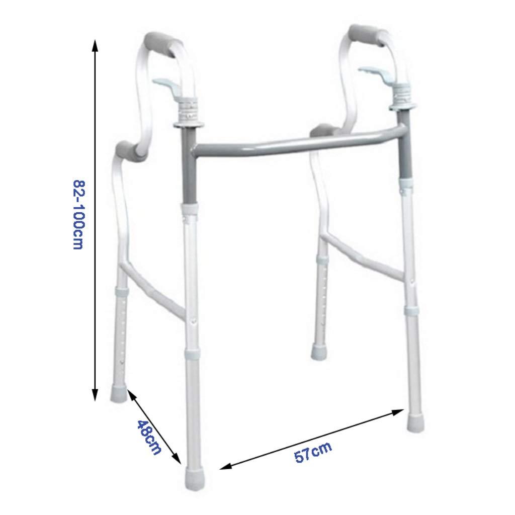 Walker JIE AJS Aparato De Rehabilitación De Caminante Ancianos Bastidor Ajustable Apoyabrazos Portátil Plegable De Altura Ajustable 57x48x82-100cm A+: ...