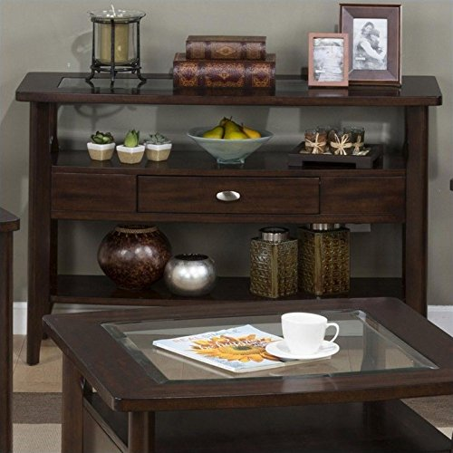 Jofran 827 Series Contemporary Sofa Table in Montego Merlot (Merlot Finish Chairside Table)