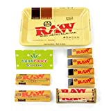 Raw Classic Natural Unrefined Rolling Papers 79MM (1 1/4) Size Smokers Bundle Kit or Set: Mini Tray, Papers, Tips, and Dank Paper Scoop Card