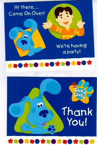 Blues Clue's Blue and Joe Party Invitation Pack - Includes 8 Invitations with Envelopes and 8 Thank You Postcards