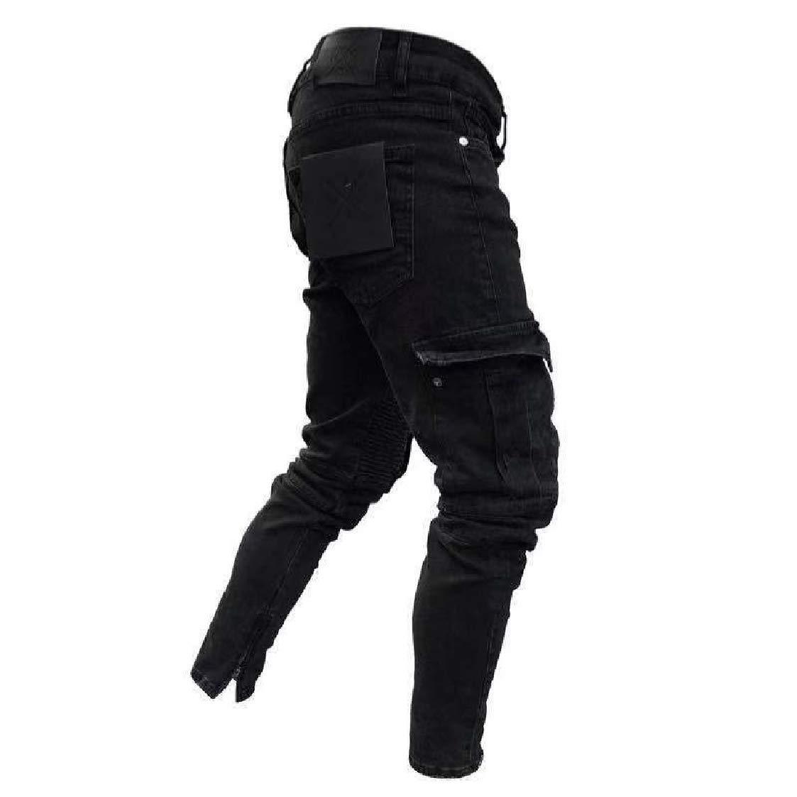 DressU Mens Stretch Full-Zip Jean Elastic Bottom Harem Casual Pants