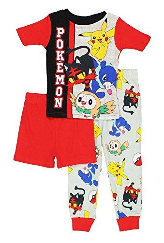 Pokemon Boys' Big 3-Piece Cotton Pajama Set, Battle-Ready Red, 4