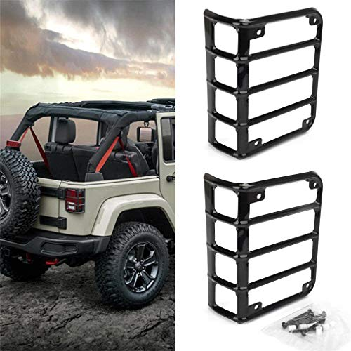 NYYINLI 2pack Tail Light Cover Trim Matte Rear Side Rugged Off Lamp Guards Protector fit Jeep Wrangle JK & Unlimited 2007-2018
