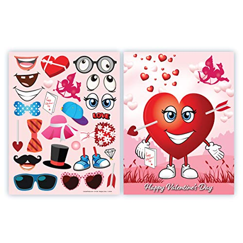 Colonel Pickles Novelties Valentines Stickers – Make A Heart Valentines Day Crafts for Kids -