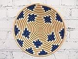 African Basket/Rwanda Basket/Woven Bowl/Sisal & Sweetgrass Basket/Blue, Tan, White