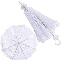 2Pcs White Lace Bridal Parasol Wedding Decor Prop Bride Flower Girl Umbrella