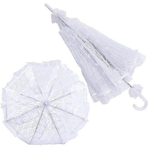 (2Pcs White Lace Bridal Parasol Wedding Decor Prop Bride Flower Girl)