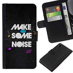 Sony Xperia Z2 D6502 D6503 D6543 L50t L50u , la tarjeta de Crédito Slots PU Funda de cuero Monedero caso cubierta de piel ( Make Noise Quote Party Live Moment Music)