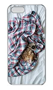 carrying cases kitty sleep shirt PC Transparent Case for iphone 5/5S