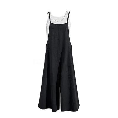 Andopa Holgados estilo general de fin de semana casual pantalones largos PLAYSUIT para Mujeres Negro Grande: Ropa y accesorios