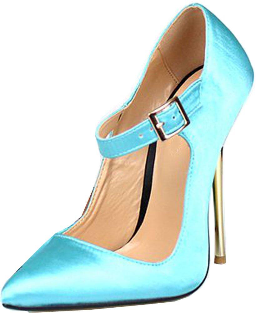 SHUT UP Sandalias con Cuña de Satén Mujer 16 UK|azul claro