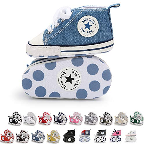 Tutoo Unisex Baby Boys Girls Star High Top Sneaker Soft Anti-Slip Sole Newborn Infant First Walkers Canvas Denim Shoes (3-6 Months M US Infant, A08-light Blue)]()