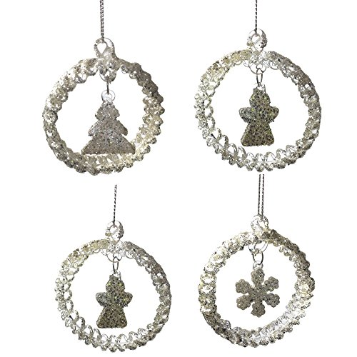 Glitter Christmas Ornaments - Set of 4 Assorted Spun Glass Ornaments - Star, Snowflake, Angel and Christmas Tree