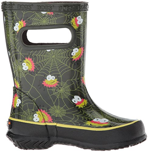 Bogs Kids' Skipper Waterproof Rubber Rain Boot for Boys and Girls,Smiley Spiders/Dark Green/Multi,11 M US Little Kid by Bogs (Image #7)