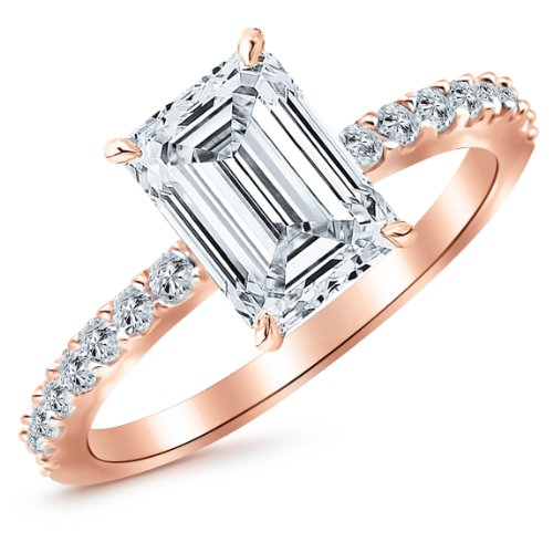 Rose Gold Classic Sidestone Pave Set Diamond Engagement Ring with a 1 Carat Emerald Cut J Color VS1 Clarity Center Stone - Emerald Rose Cut Diamond