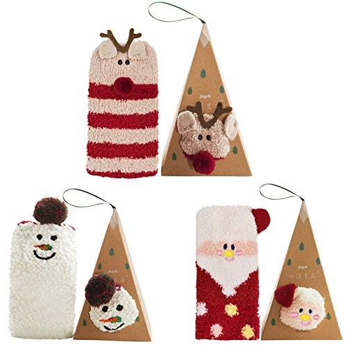 3 Pairs Fuzzy Women Socks, Fleece Casual Socks Christmas Socks for Girls and Ladies