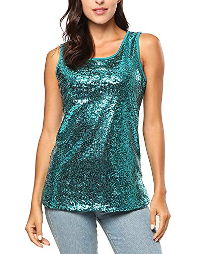 Blouse Sleeveless Lined - BELLEZIVA Women's Sequined Tops Sparkling Outfits Shimmer Vest Tunic Blouses for Cocktail Green