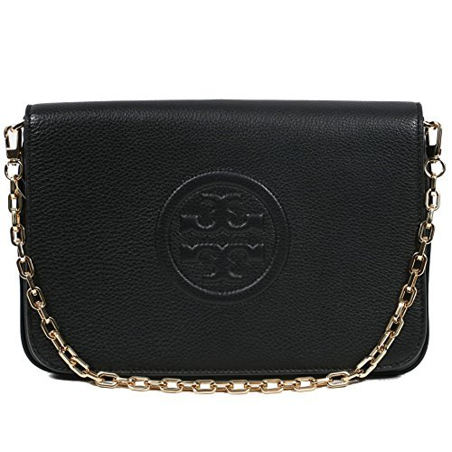 Tory Burch Bombe Convertible Clutch Leather TB Logo ()