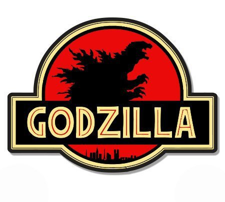 Magnet Godzilla Jurassic Park - Magnetic vinyl sticks to any metal fridge, car, signs 5