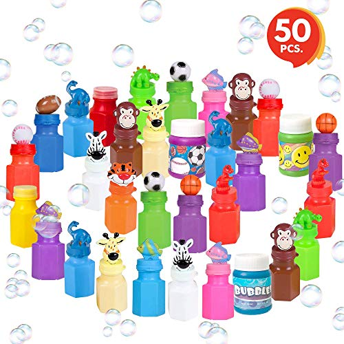 ArtCreativity Mini Bubble Bottles with Wands (50 Pieces) | Great Bubbles Party Favors for Boys and Girls | Extra-Wide Variety Bulk Pack | Cute and Fun Bubble Blowing Wand Kit for Kids