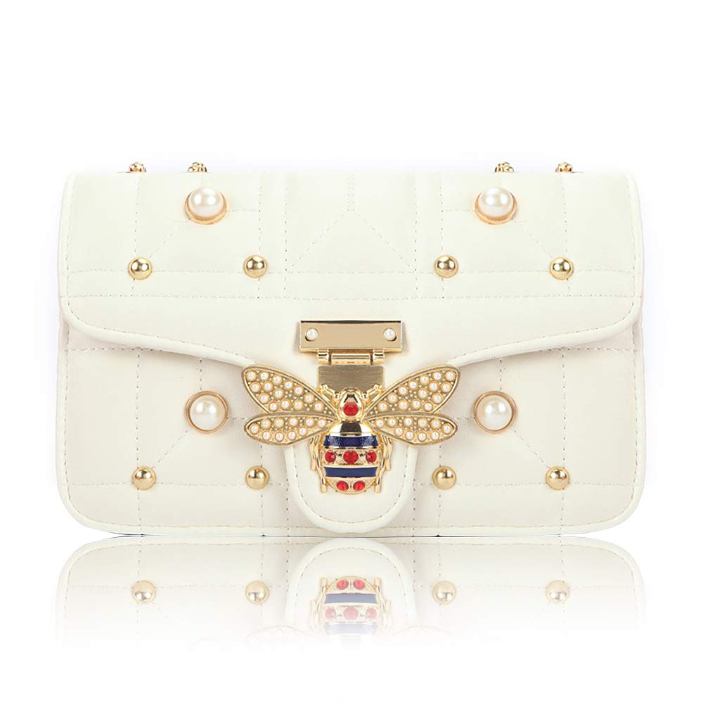 Beatfull Bee Shoulder Bag for Women, Elegant Handbag Crossbody Bag with Pearl (white)