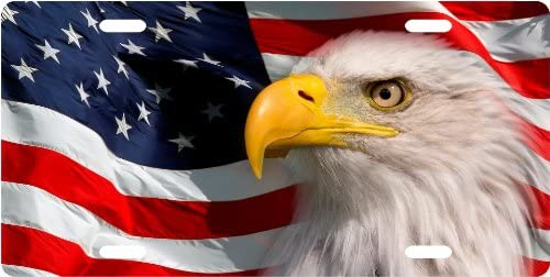 OldsNewAgain American Eagle Aluminum Flag Rebellion Series Patriotic License Plate Car Truck Auto USA Tag