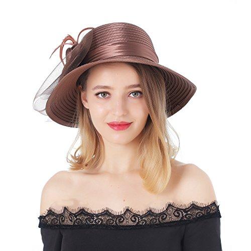 Dantiya Women's Organza Wide Brim Floral Ribbon Kentucky Derby Church Dress Sun Hat (Free, 2 Style-Brown) by Dantiya