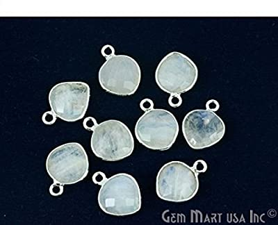 Select Your Stone Bezel Connector 10mm Heart Silver Plated Single bail by GemMartUSA 10103
