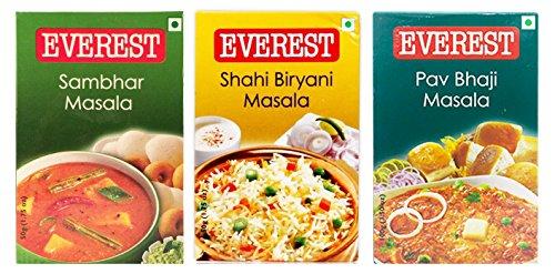 Everests Spices Variety Pack-Sambhar Masala 100g/Shahi Biryani Masala - 50g/Pav Bhaji Masala-100g