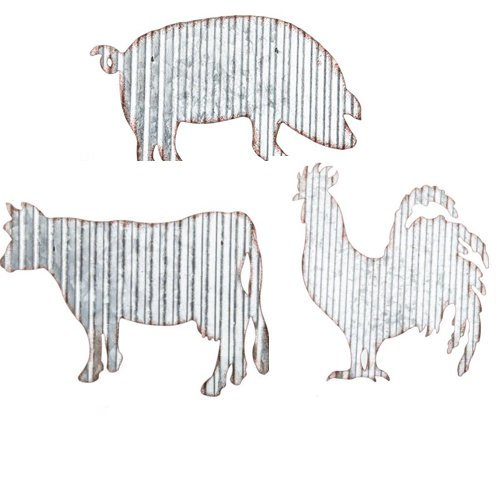 Barnyard Animals Rooster Cow Pig Metal