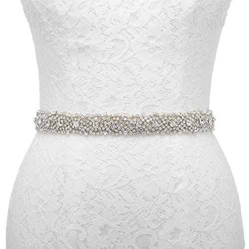 Remedios Handmade Dazzling Rhinestone Wedding Party Prom Sash Bridal Belt For Women,Champagne ()