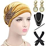 1920s Headwrap Accessories Set - Velvet Turban Hat Cap,Gatsby Long Gloves, Earrings,Pearl Necklace for Women,Gold