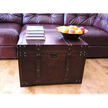Gold Rush Steamer Trunk Wood Storage Wooden Treasure Chest - Large Trunk