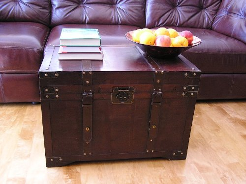 Styled Shopping Gold Rush Steamer Trunk Wood Storage Wooden Treasure Chest - Large Trunk