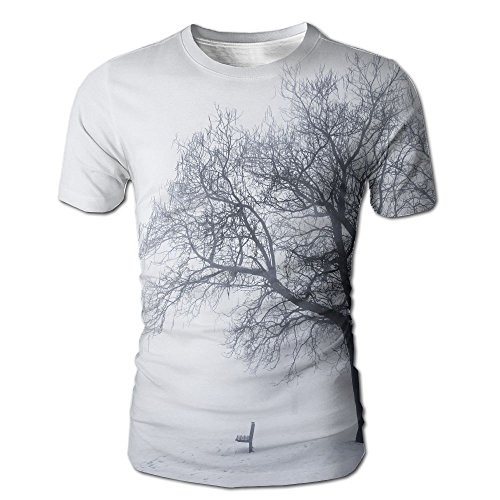 Arbor Mist (JeanCo Mens Farm House Dramatic Winter Scene With A Leafless Tree In Fog Blizzard Day Mist Outdoors Casual Style T Shirts White L)