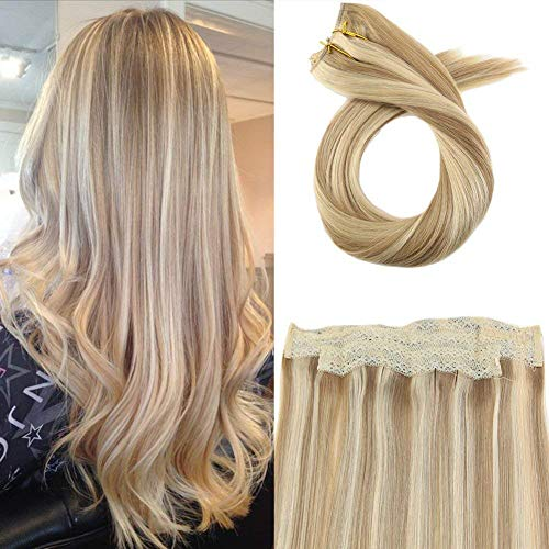 Moresoo 12 Inch Halo Remy Human Hair Extensions Color #14 Honey Blonde Mixed with #613 Bleach Blonde Halo Crown Extensions 50g Per Pack One Piece Dip Dyed Hair - Piece One Dip
