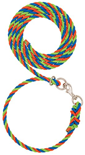 Weaver Leather Livestock Livestock Adjustable Poly Neck Rope, Orange/Blue/Lime Zest, 1/2