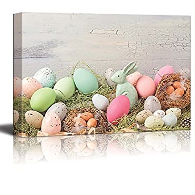 Canvas Prints Wall Art - Easter Pastel Colored Decoration on Grass - 24