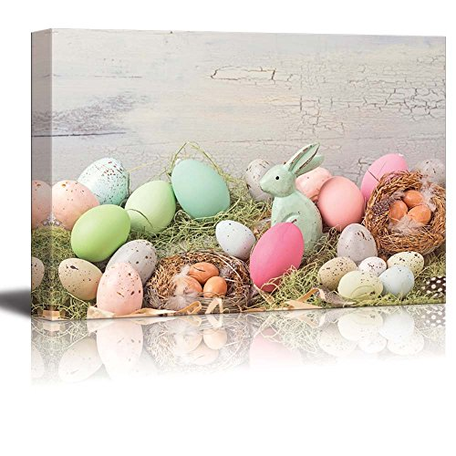 Canvas Prints Wall Art – Easter Pastel Colored Decoration on Grass – 32 x 48