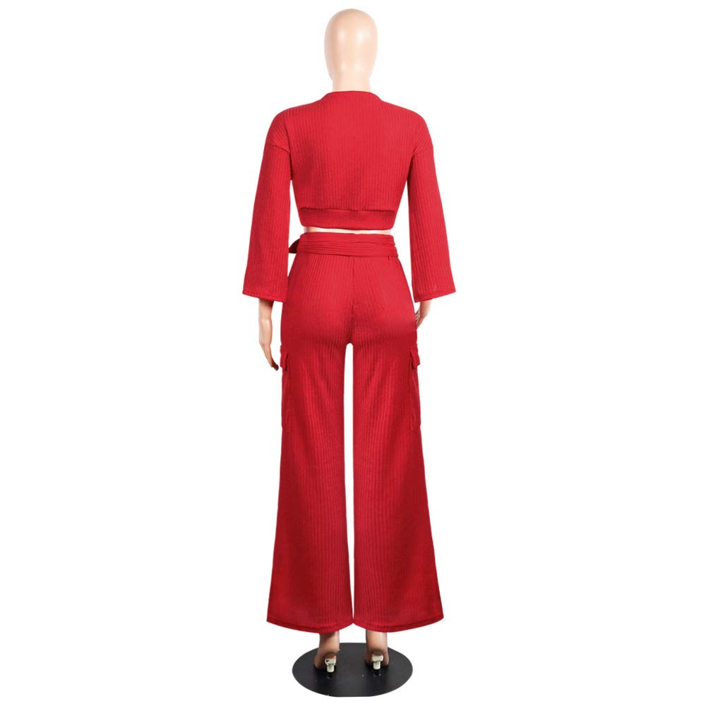 Womens Wide Leg 2 Piece Outfits Crop Tops and Pants Set Knitted Jumpsuit Romper