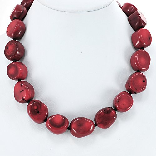 - Red Coral Nugget Hand Knotted Necklace with Silver Tone Clasp 20