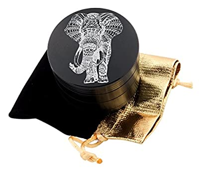 Elephant Laser Etched Design 4pcs Large Size Herb Grinder With FREE Scraper & Velvet Pouch Item # ETCH-G012317-66 by DomingUSA