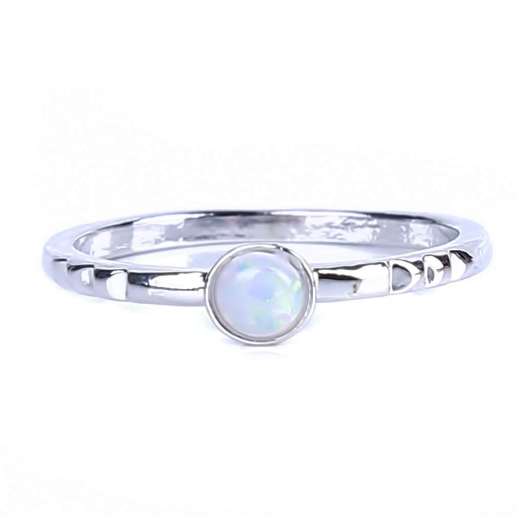 KISSFFRIDAY Exquisite Nature Gemstone Slim Textured Fire Opal Rhinestone Stacking Ring(No.7)