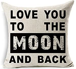 "Wonder4 Cotton Linen Square Decorative Throw Pillow Case Cushion Cover Pillow Slip 18"" x 18"" Love You to The Moon and Back Print"