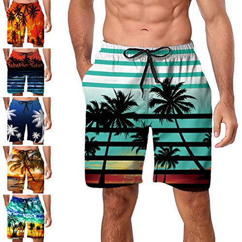 - Freshhoodies Mens Hawaiian Swim Trunks Coconut Palm Tree Boardshorts with Mesh Lining Swimwear Bathing Suits Shorts (Style A3, Medium)
