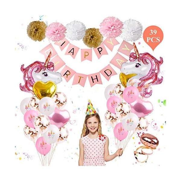 Unicornio cumpleaños globo fiesta suministros – FengRise nuevo rosa y oro rosa unicornio decoración de fiesta, paquete de 39 incluido cumpleaños banner y corazones & confeti globos para baby shower/fiesta de cumpleaños