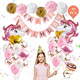 Unicorn Balloons Birthday Party Decorations - Unicorn Birthday Party Supplies Kit, Set of 39 Included Rose Gold Happy Birthday Banner, Gold & Rose Gold Heart Balloons, Paper Pom Poms for Baby Shower/Birthday Party By FengRise